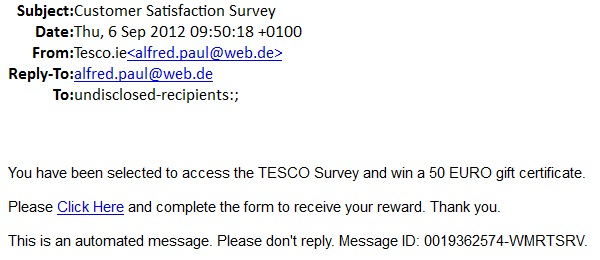Fake Tesco gift certificate scams targetting your mailboxes and