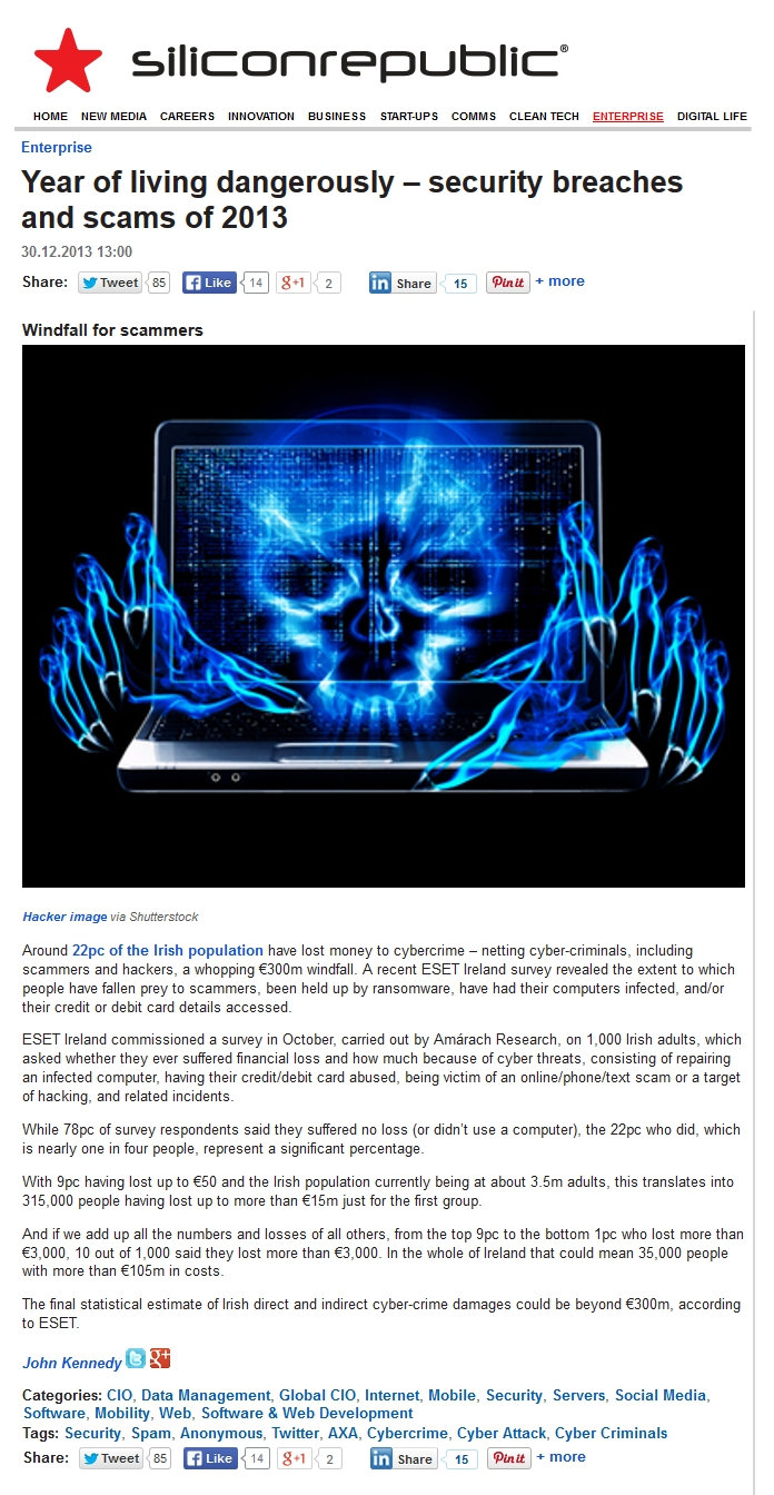 Eir Warns Public Of New Scam Targeting Phone Users The Irish Times >> Press Clippings Q4 2013 Eset Ireland