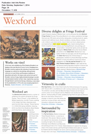 Irish Arts Review 01.09.2014