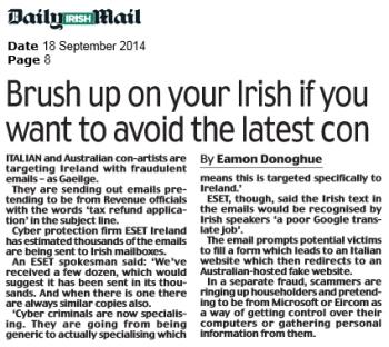 Irish Daily Mail 17.09.2014
