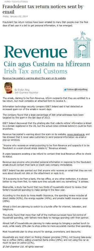 Irish Examiner online 03.01.2014
