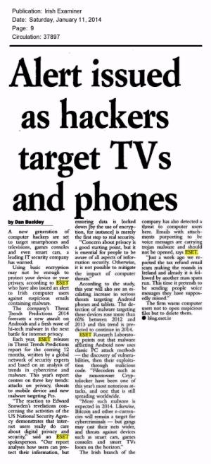 Irish Examiner printed 11.01.2014