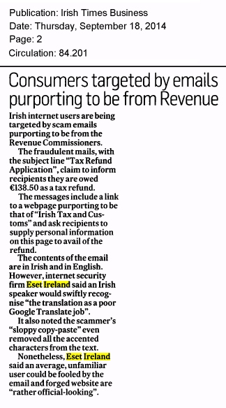 Irish Times Business 17.09.2014