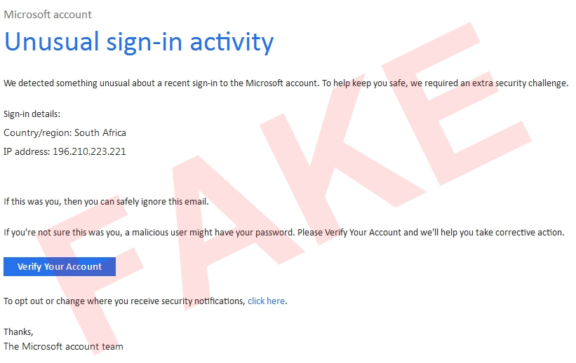 microsoft account unusual sign-in activity verify your account