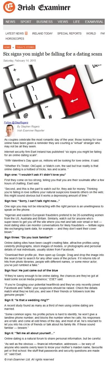 Irish Examiner online 14.02.2015
