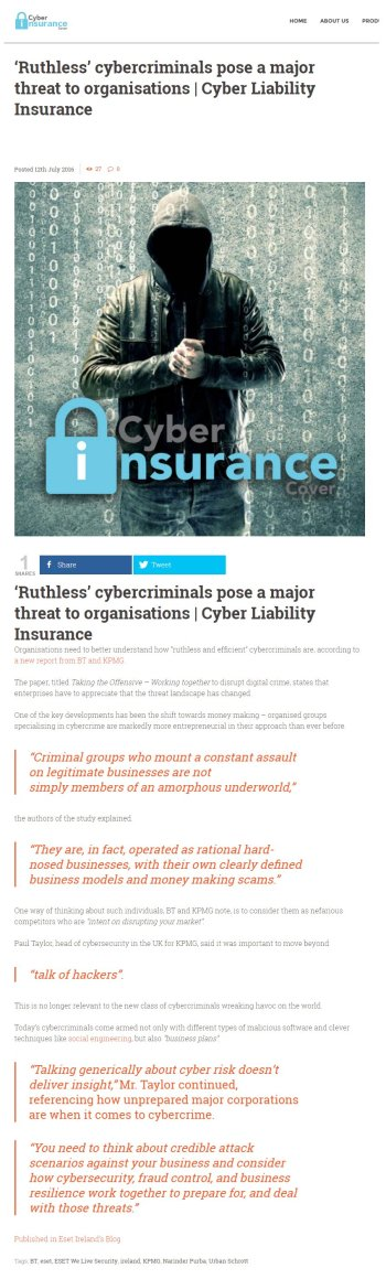 Cyber Insurance Cover 12.07.2016
