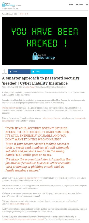 Cyber Insurance Cover 20.07.2016