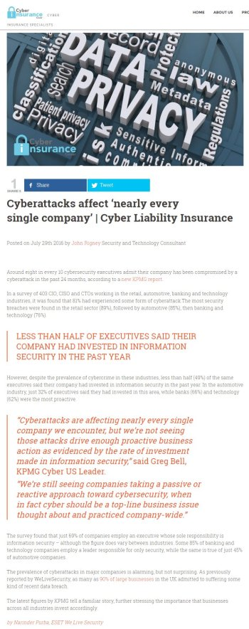 Cyber Insurance Cover 29.07.2016