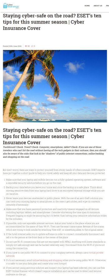 Cyber Insurance Cover 30.06.2016