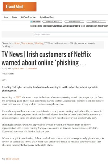 Fraud Alert 13.11.2016