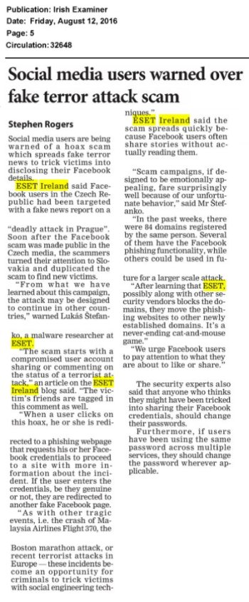 Irish Examiner 12.08.2016