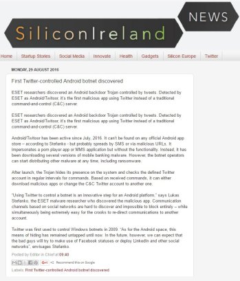 Silicon Ireland News 29.08.2016