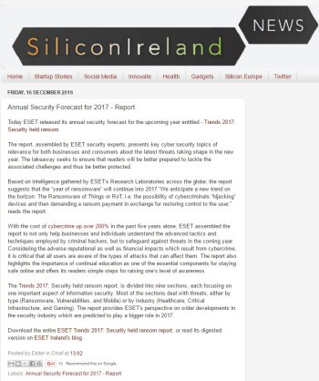 Silicon Ireland News 16.12.2016