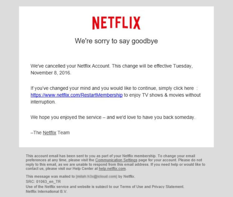 Netflix cancellation' mail phishes for user info – ESET Ireland