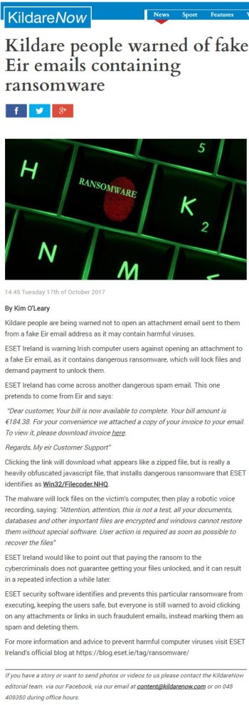 Eir Warns Public Of New Scam Targeting Phone Users The Irish Times >> Press Clippings 2017 Eset Ireland