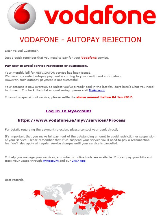 Fake Vodafone phishing in Irish mailboxes – ESET Ireland